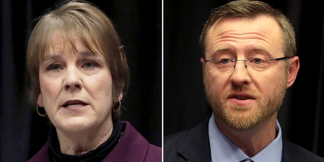 FILE--In this March 15, 2019 file photo, Wisconsin Supreme Court candidates Lisa Neubauer, left, speaks during a debate with opponent Brian Hagedorn, right, at the Wisconsin State Bar Center in Madison, Wis.