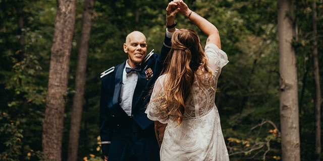 The photographer captured a gorgeous series of images, featuring Becky and Tim dancing, smiling, twirling and laughing in the great outdoors, their tight-knit bond radiant in every image.