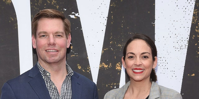 U.S. Representative from California's 15th congressional district Eric Swalwell and wife Brittany Watts attend the Broadway opening night of 'Oklahoma' at Circle in the Square Theatre on April 07, 2019 in New York City. (Photo by Gary Gershoff/Getty Images)