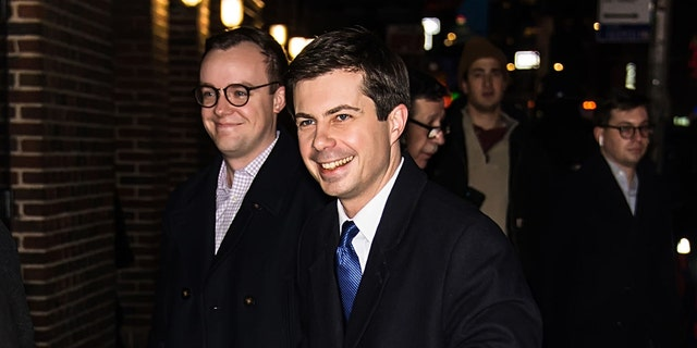 "Democratic presidential candidate Pete Buttigieg (right) and husband Chasten Glezman are seen arriving at ""The Late Show With Stephen Colbert"" at the Ed Sullivan Theater. (Photo by Gilbert Carrasquillo/GC Images)"