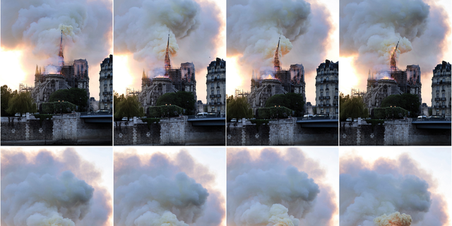 In this combination of photos, flames and smoke rise as the spire on the Notre Dame Cathedral collapses during a fire in Paris, Monday, April 15, 2019.
