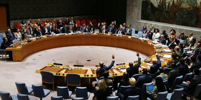 In this Sept. 11, 2017, file photo, The United Nations Security Council votes to pass a new sanctions resolution against North Korea during a meeting at U.N. headquarters.