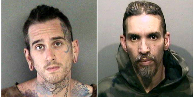 "Max Harris, left, and Derick Almena, each face 36 counts of involuntary manslaughter in connection with the Dec. 2, 2016, ""Ghost Ship"" fire in Oakland, Calif. (Alameda County Sheriff's Office)"