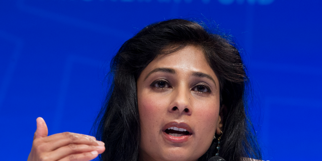 Chief Economist and Director of Research Department at the IMF, Gita Gopinath, speaks during a news conference at the World Bank/IMF Spring Meetings, in Washington, Tuesday, April 9, 2019. (AP Photo/Jose Luis Magana)