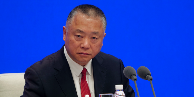 Liu Yuejin, clamp commissioner of a National Narcotics Control Commission, speaks during a press discussion in Beijing on Apr 1, 2019. (AP Photo/Sam McNeil)