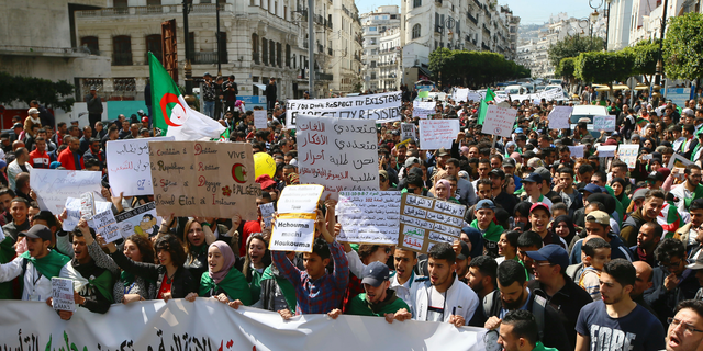Algerian demonstrators stage a protest in Algiers, Algeria, April 2, 2019. (AP Photo/Anis Belghoul)