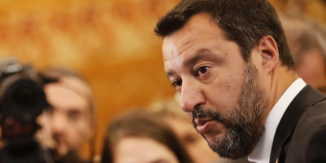 Italian Interior Minister and Vice Premier Matteo Salvini answers reporters during a media conference at the G7 Interior Ministers meeting in Paris, Friday, April 5, 2019. The world's security challenges are on the top of the agenda of foreign and interior ministers of the Group of Seven countries who are gathering in France. (AP Photo/Christophe Ena)