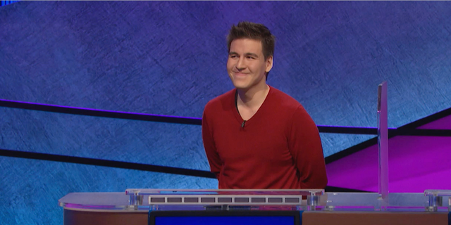 "FILE - This file image made from video and provided by Jeopardy Productions, Inc. shows ""Jeopardy!"" contestant James Holzhauer on an episode that aired on April 17, 2019. On his 14th appearance Tuesday, April 23, 2019, Holzhauer eclipsed the $1 million mark in winnings. (Jeopardy Productions, Inc. via AP)"