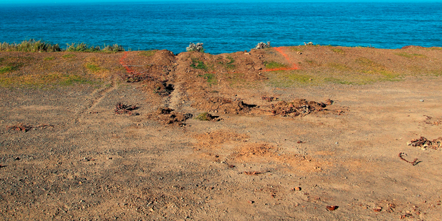 FILE - This March 29, 2018, file photo shows ruts cut into the clifftop where the SUV of Jennifer and Sarah Hart that went off the cliff was hauled up and over by a tow truck off the Pacific Coast Highway near Westport, Calif. A California Highway Patrol investigator testified Thursday, April 4, 2019 that Sarah Hart searched whether death by drowning was relatively painless hours before her wife drove an SUV off a cliff, killing them and six adopted children in waters below. A special coroner's jury in Mendocino County is trying to determine whether the March 2018 deaths were murder-suicide or accidental. (Kale Williams/The Oregonian via AP, File)