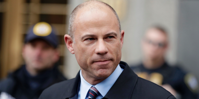 Michael Avenatti speaks outside a courthouse in New York City, Dec. 12, 2018.<br>