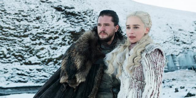 "Kit Harington as Jon Snow and Emilia Clarke as Daenerys Targaryen in a scene from ""Game of Thrones."""