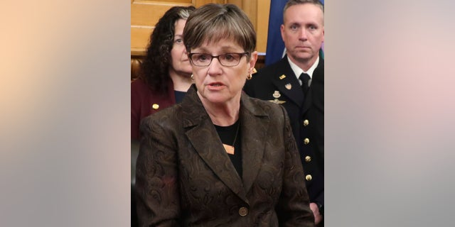 Kansas Gov. Laura Kelly, a Democrat, vetoed a bill related to abortion, setting up a showdown with state Republicans. (AP Photo/John Hanna, File)