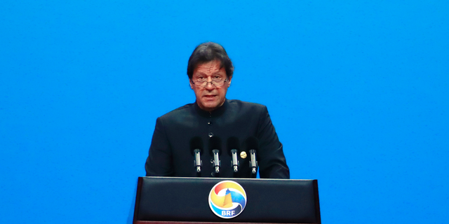 Pakistani Prime Minister Imran Khan delivers his speech for the opening ceremony of the second Belt and Road Forum for International Cooperation (BRF) on Friday, April 26, 2019, in Beijing.