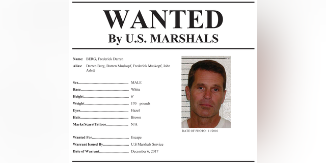 """This image provided by the U.S. Marshals Service shows part of the wanted poster for Frederick Darren Berg. Federal agents believe Berg, the man who masterminded a $100 million Ponzi scheme and escaped from a federal prison in California, may have fled to South America. Court records reviewed by The Associated Press detail the investigation into the 2017 escape of Berg. The documents say the U.S. Marshals Service has named Berg's former boyfriend, Darrell Ray Blankenship, as a """"person of interest"""" in connection with the escape. Blankenship has not been charged with a crime. (U.S. Marshals Service via AP)"""