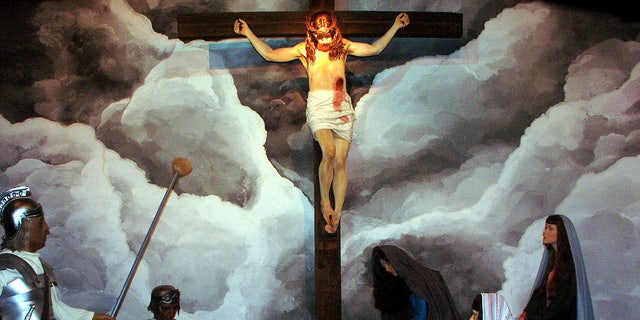 The crucifixion of Jesus Christ is portrayed at the BibleWalk wax museum in Mansfield, Ohio.