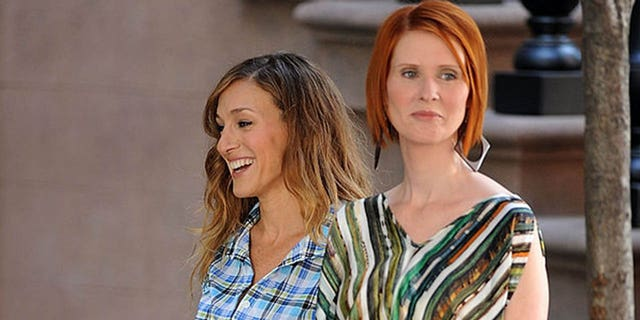 Actresses Sarah Jessica Parker and Cynthia Nixon are seen during production on