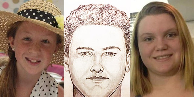 On February 13, 2017, Abigail Williams, 13, and Liberty German, 14, disappeared after being dropped off at the Delphi Historic Trails. The sketch of the unidentified man (center) was released by Indiana State Police on Monday, who is suspected in their murders.
