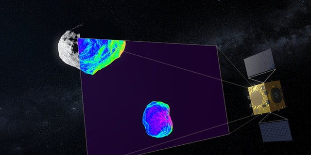 Hera uses infrared to scan impact crater. (Credit: ESA)