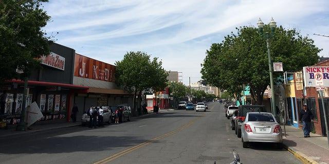 A street in El Paso, near the Mexico border.