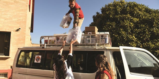 Members of the STEP-IN medical team in Erbil, led by Dr. Zuzana Ulman (in white), unload medical supplies from the group's van.