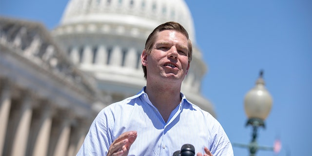 U.S.Rep. Eric Swalwell, D-Calif., speaks to reporters outside the U.S. Capitol in Washington, July 10, 2018. (Getty Images)