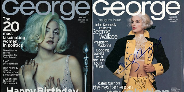 George magazine covers feature Drew Barrymore as Marilyn Monroe (left) and Cindy Crawford as George Washington (right).