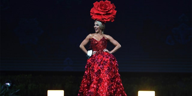 Miss USA 2018 Sarah Rose Summers poses on stage during the 2018 Miss Universe national costume presentation in Chonburi province on Dec. 10, 2018. —LILLIAN SUWANRUMPHA/AFP/Getty Images