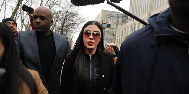 Emma Coronel Aispuro, the wife of Joaquin 'El Chapo' Guzman, leaving court in New York City this past February.