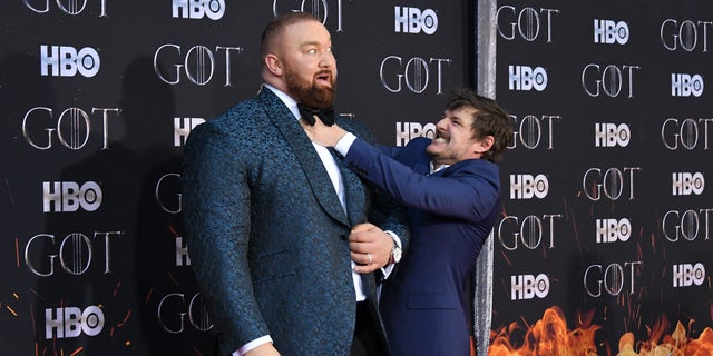 "Hafþor Julius Bjornsson and Pedro Pascal attend the ""Game Of Thrones"" season 8 premiere on April 3, 2019 in New York City."