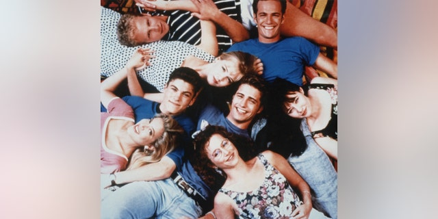 The cast of 'Beverly Hills, 90210' are pictured here (Left to right): Tori Spelling, Brian Austin Green, Ian Ziering, Jennie Garth, Jason Priestley, Gabrielle Carteris, the late Luke Perry and Shannen Doherty.