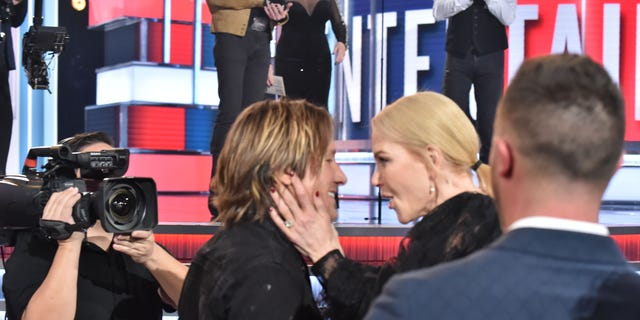 Keith Urban and Nicole Kidman during the 54th Academy Of Country Music Awards at MGM Grand Garden Arena on April 07, 2019 in Las Vegas, Nevada.