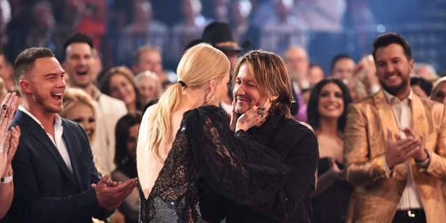 Nicole Kidman and Keith Urban during the 54th Academy Of Country Music Awards at MGM Grand Garden Arena on April 07, 2019 in Las Vegas, Nevada.