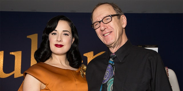 Dita Von Teese (L) and Gypsy Rose Lee's son Erik Preminger attend the media press event of the collection of Gypsy Rose Lee at Julien's Auctions Gallery on Dec. 1, 2014 in Beverly Hills, Calif. — Photo by Chelsea Lauren/WireImage