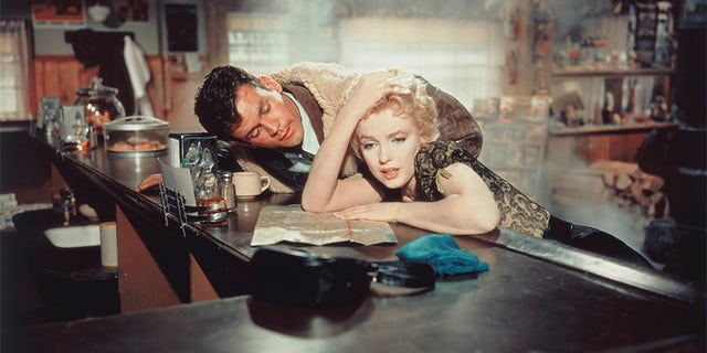 """Actors Marilyn Monroe and Don Murray on the set of """"Bus Stop,"""" directed by Joshua Logan."""