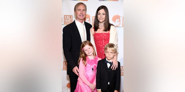 Matthew Saks poses with wife Vanessa Saks, daughter Violet Saks and son Brody Saks at Ali Forney Center's 2016 A Place At The Table Dinner at Capitale on Oct. 21, 2016 in New York City.