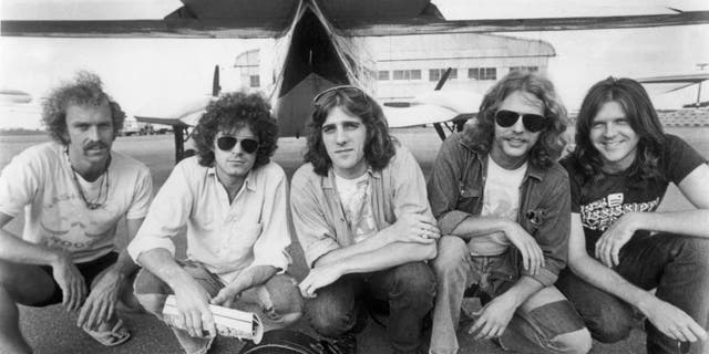 Eagles band members Bernie Leadon, Don Henley, Glenn Frey, Don Felder, Randy Meisner