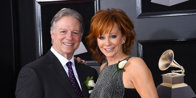 Reba McEntire and Anthony 'Skeeter' Lasuzzo attend the 60th Grammy Awards on January 28, 2018, in New York.