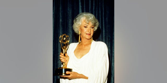 Bea Arthur holds her Emmy for Outstanding Lead Actress in a Comedy Series on April 16, 1988. (Photo by ABC Photo Archives/ABC via Getty Images)