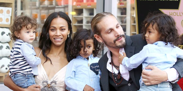 Zoe Saldana with her husband, Marco Perego, and their children, Bowie Ezio Perego-Saldana, Cy Aridio Perego-Saldana and Ezio Perego attend the ceremony honoring Zoe Saldana with A Star on The Hollywood Walk of Fame
