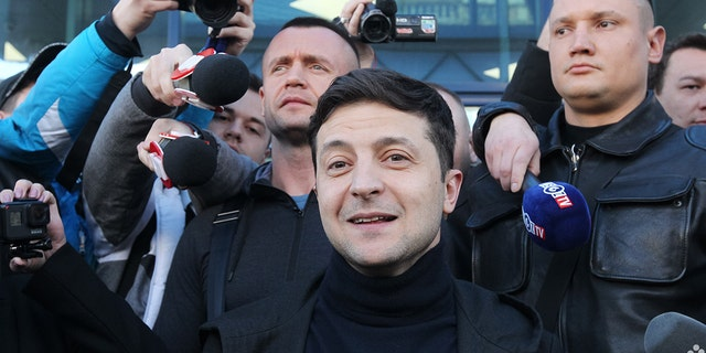 Ukrainian actor-turned-presidential candidate Volodymyr Zelensky seen talking to the media on April 5, 2019