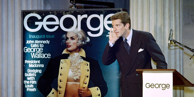 """John F. Kennedy Jr answers journalists questions on Sept. 7, 1995 during a press conference to announce the launch of his magazine """"George"""" in New York."""