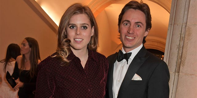 Princess Beatrice of York and Edoardo Mapelli Mozzi attend The Portrait Gala 2019 hosted by Dr. Nicholas Cullinan and Edward Enninful to raise funds for the National Portrait Gallery's 'Inspiring People' project at the National Portrait Gallery on March 12, 2019, in London, England.