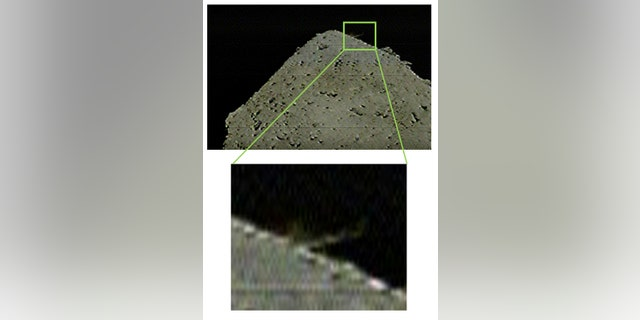 This image captured by the camera separated from Hayabusa2 (DCAM3) shows ejection from Ryugu's surface, which was caused by the collision of the SCI against Ryugu.