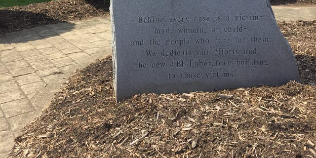 A memorial stone outside of the FBI Laboratory division building at Marine Corps Base Quantico, VA. (Fox News/Alex Diaz)