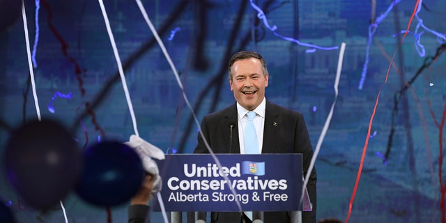United Conservative Party (UCP) leader Jason Kenney reacts at his provincial election night headquarters in Calgary, Alberta, Canada April 16, 2019.