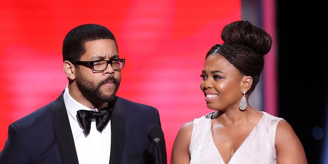 Michael Smith and Jemele Hill speak onstage during the 49th NAACP Image Awards at the Pasadena Civic Auditorium on January 15, 2018 in Pasadena, California.
