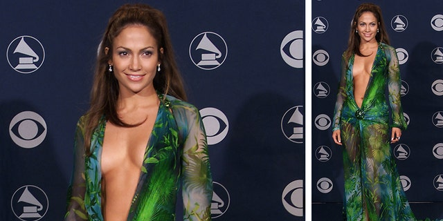 Jennifer Lopez, pictured here in the iconic Versace dress, at the 42nd Grammy Awards on February 23, 2000.