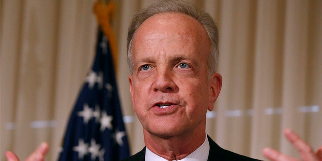 FILE: U.S. Senator Jerry Moran (R-KS) delivers remarks at the public launch of the U.S. Agriculture Coalition for Cuba while at the National Press Club in Washington, January 8, 2015. REUTERS/Larry Downing (UNITED STATES - Tags: POLITICS BUSINESS AGRICULTURE) - GM1EB190EF201