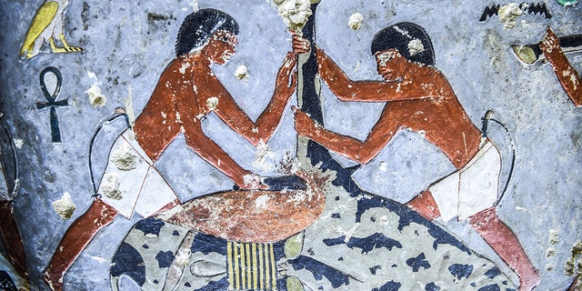A view inside the newly-dicovered tomb of the ancient Egyptian nobleman