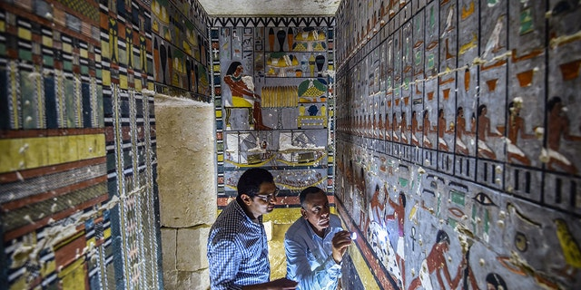 "Mohamed Mujahid , head of the Egyptian mission which discovered the tomb of the ancient Egyptian nobleman ""Khewi"" dating back to the 5th dynasty."